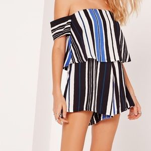 Missguided Other - Missguided Blue Striped Bardot Romper Cobalt